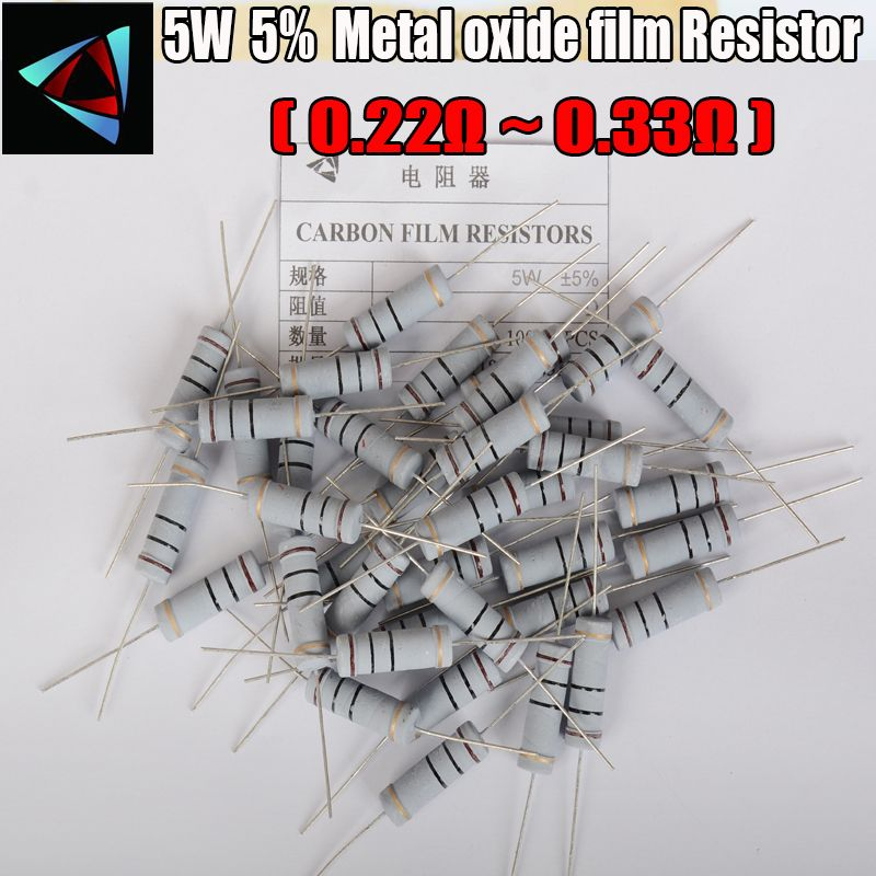 5 Stucke 5 5 Watt Metalloxidfilm Widerstand 0 22 0 24 0 27 0 3 0 33 Ohm Carbon Film Resistor Resistors Metal Light Emitting Diode