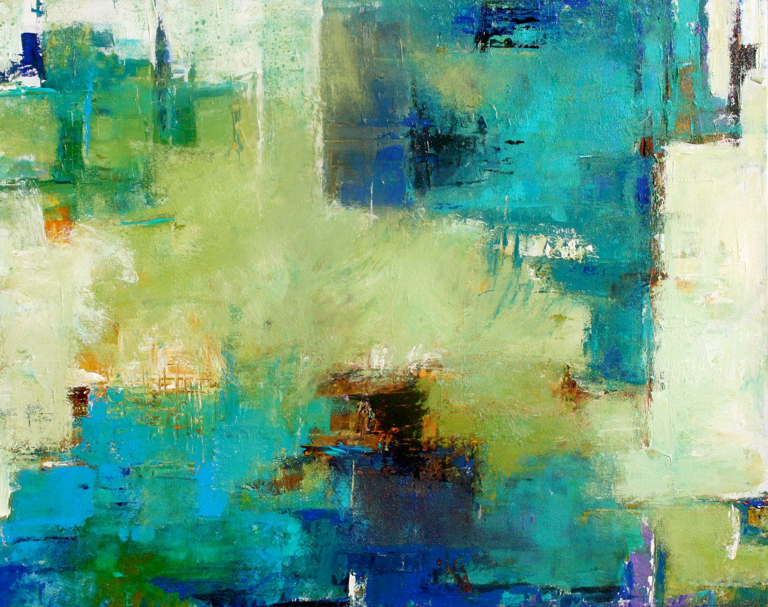 Contemporary Abstract Painting Abstract Painting Original Art Blue Colors Abstract Art Acrylic On