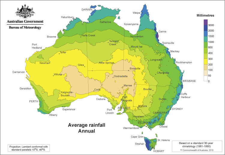 Map 9f Australia.Australia Yearly Annual Rainfall Averages Geography In 2019