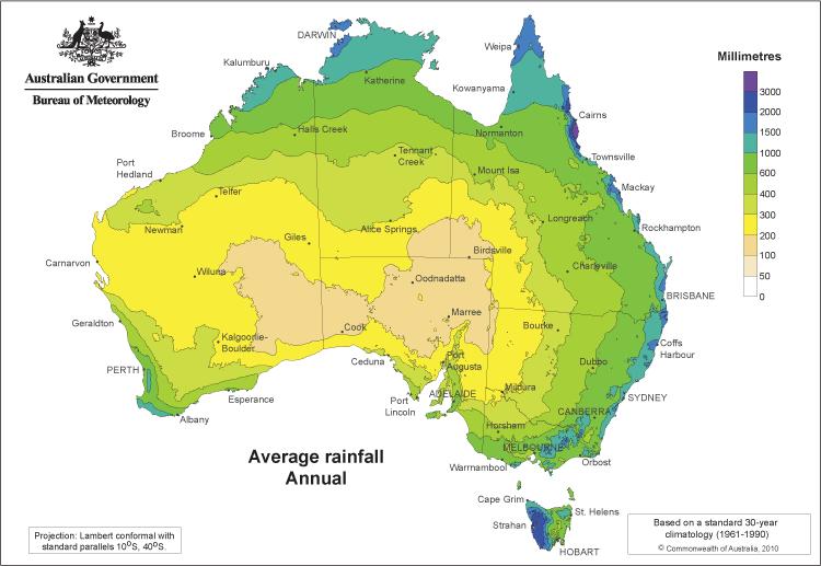 Rainfall map of Australia from the Bureau of Meteorology