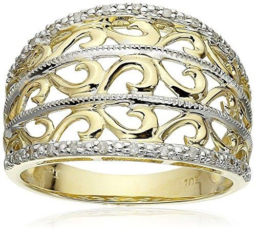 Filigree Diamond Ring (1/10 cttw, I-J Color, I2-I3 Clarity)