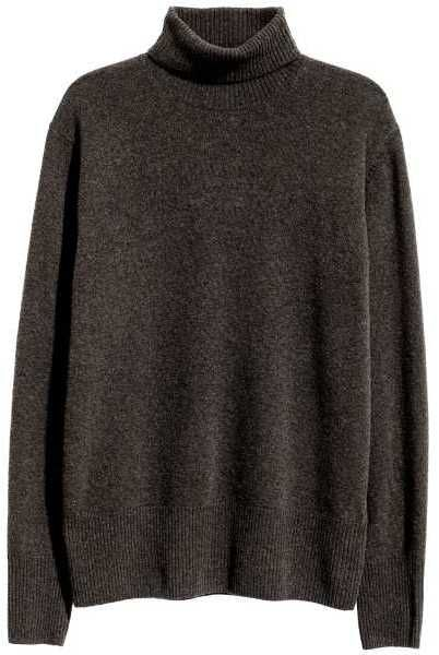H&M - Fine-knit Turtleneck Sweater - Dark brown melange - Men ...