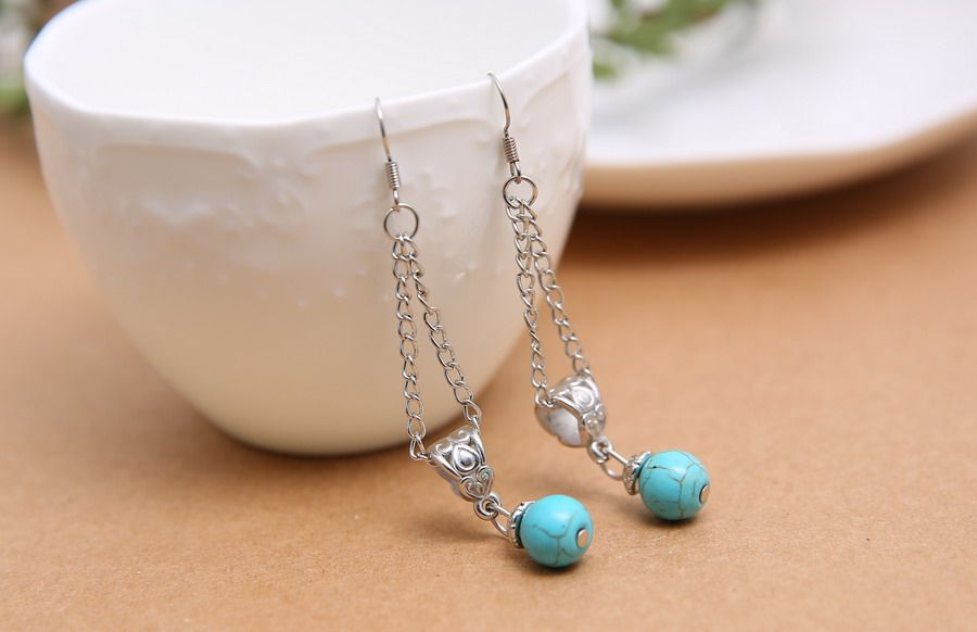 Pretty Design Jewelry Tibetan Silver Round Turquoise Hollow Chain Dangle Earring | eBay