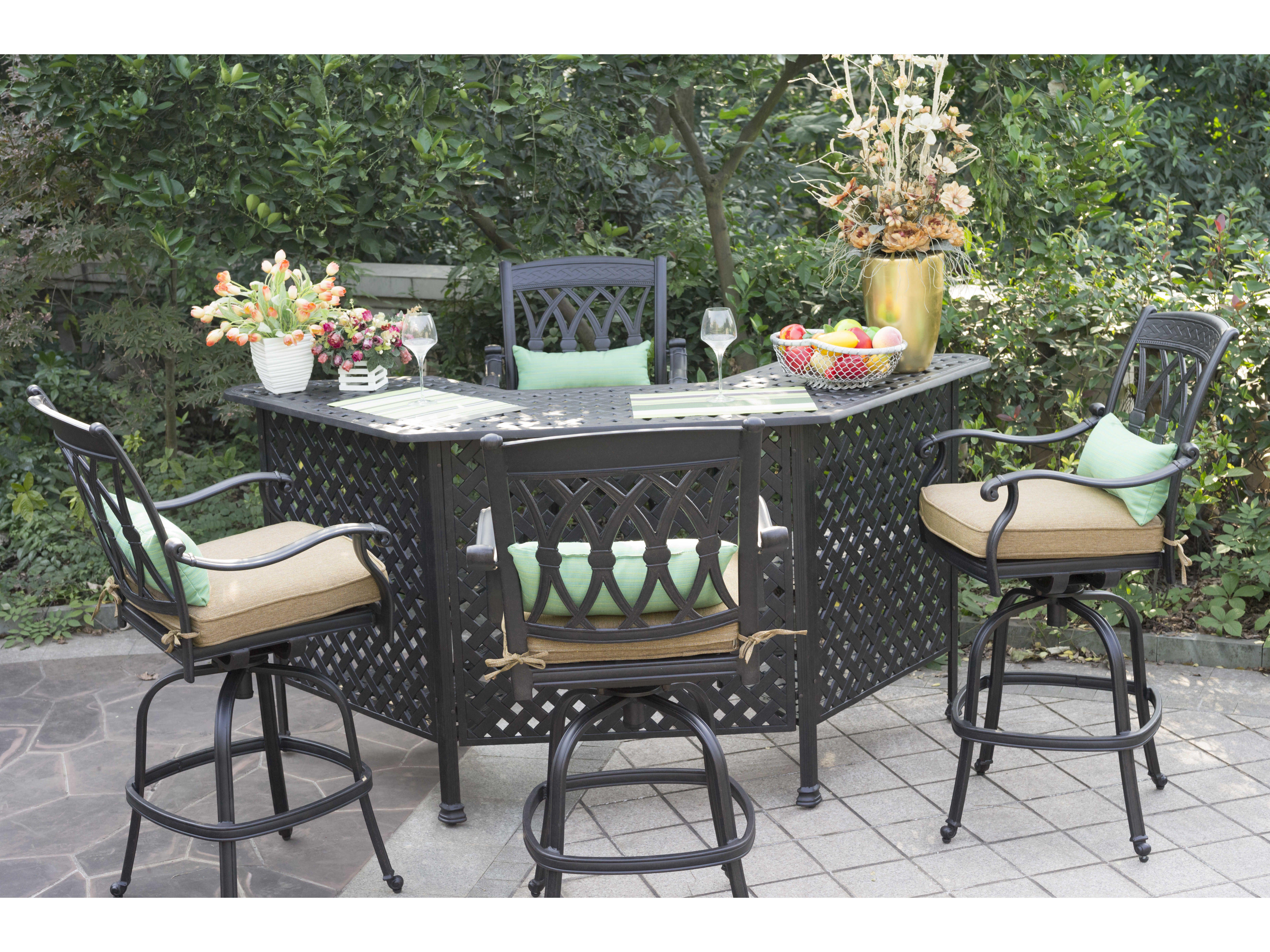 Darlee Outdoor Living San Marcos Cast Aluminum Bar Set ... on Fine Living Patio Set id=86839