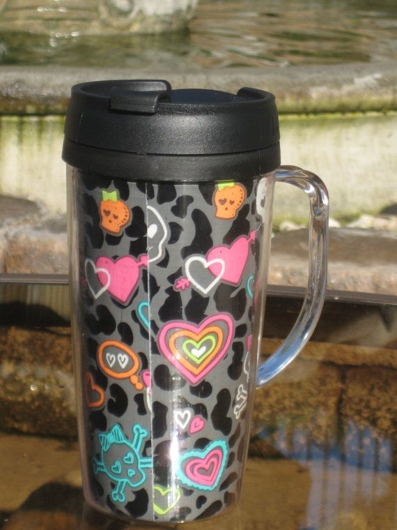 Girly Skulls with bow and hearts  - Travel Mug 16 oz with Handle -- Kawaii Cute- free shipping
