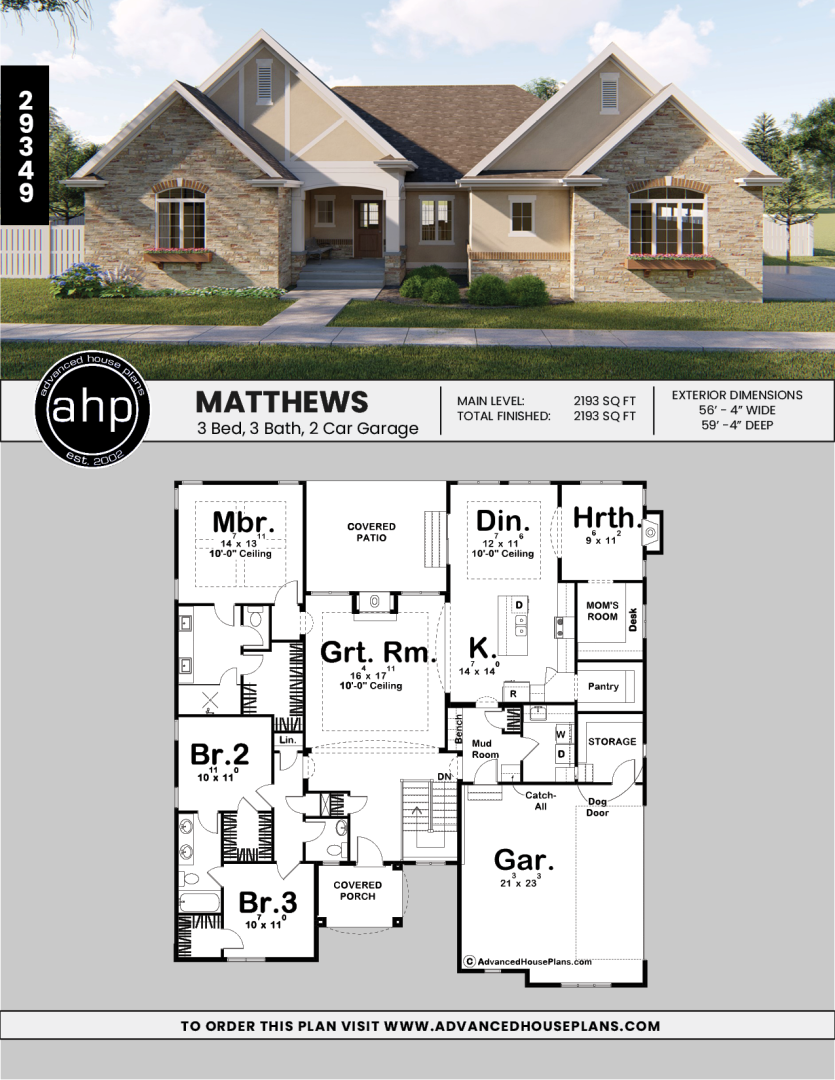 1 Story Cottage House Plan Matthews Cottage House Plans Cottage Style House Plans Advanced House Plans