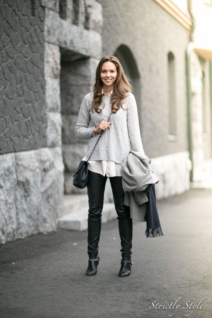 Grey Jumper Classic Outfit Ootd Street Style White Shirt Fall