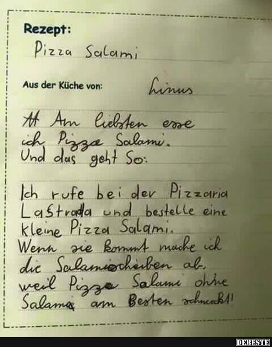 Rezept Pizza Salami Lustige Bilder, Sprüche, Witze, echt - lustige sprüche küche
