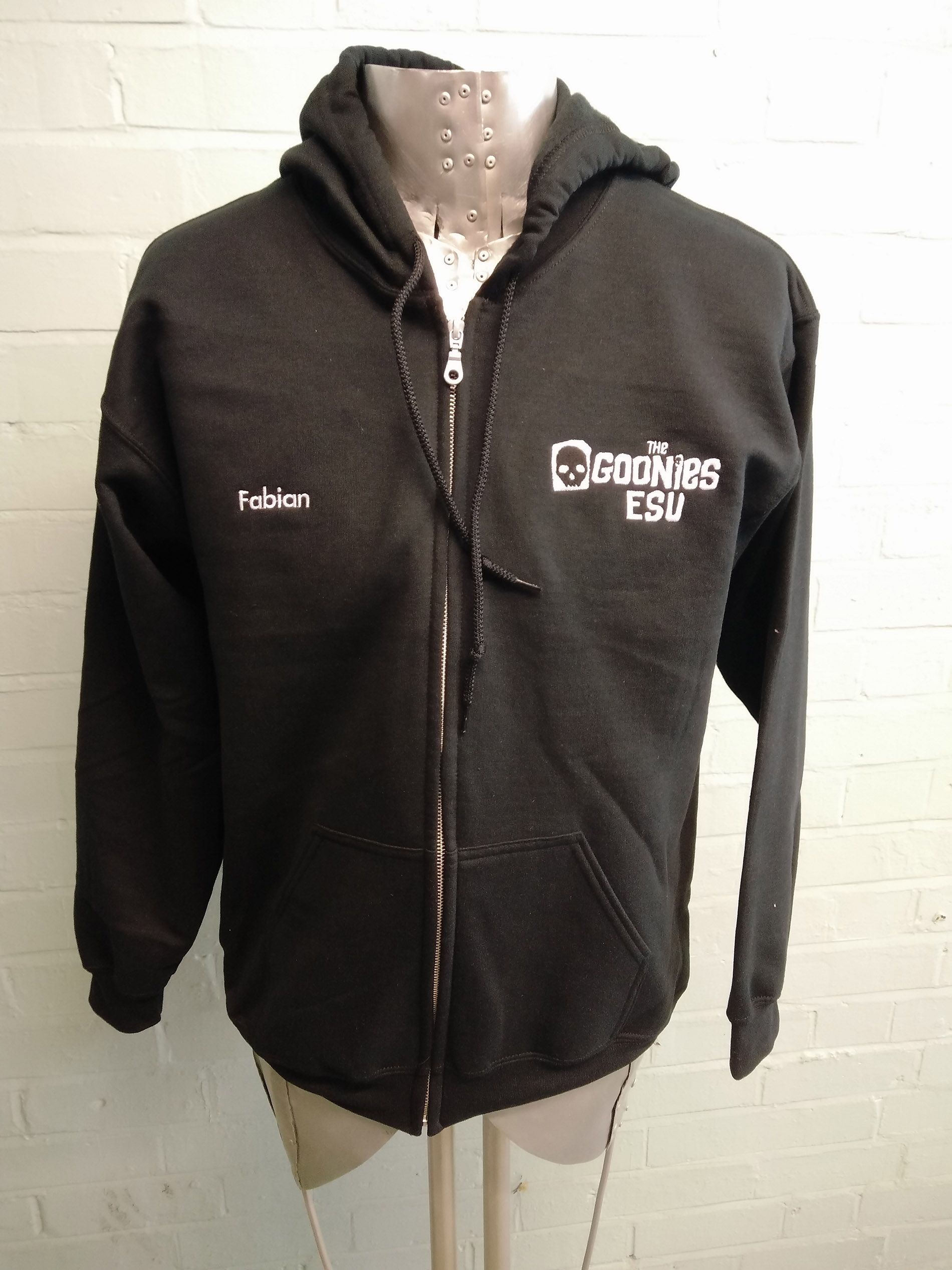 Zip Up Black Hoo For The Goonies Esu With Custom Logos And Name Embroidered Printed On Print Back Full Logo