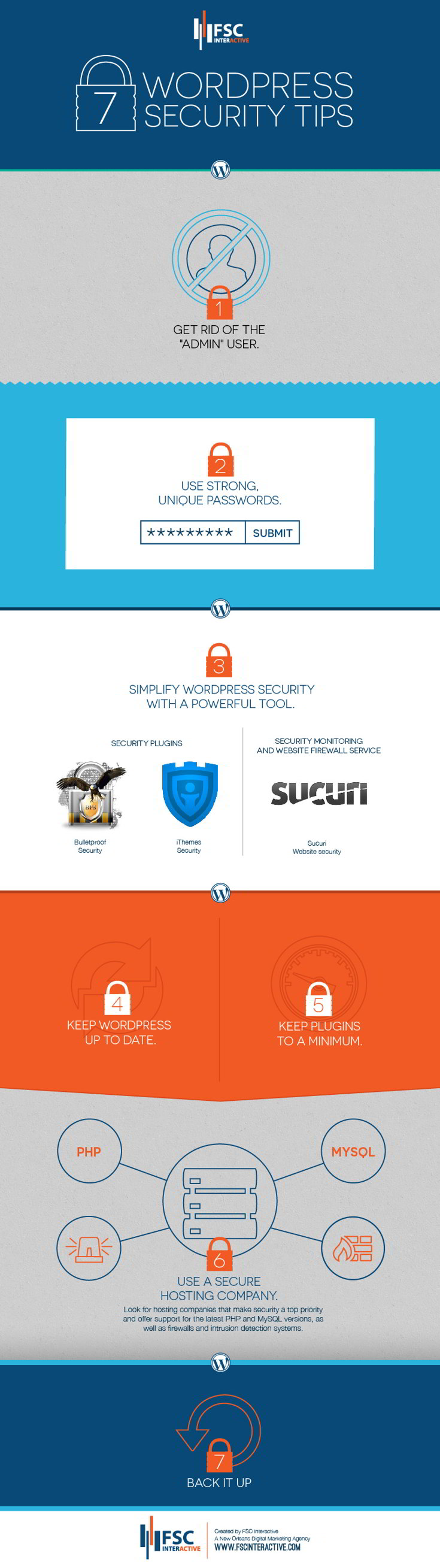 7 WordPress Security Tips. WordPress is one of the easiest, most popular and most powerful content management systems (CMS) in existence today, but as with any widely used software, its popularity can make it a target for hackers. Fortunately, there are a few easy things you can do to secure your site from the majority of attacks. Here are seven WordPress security tips to keep in mind.