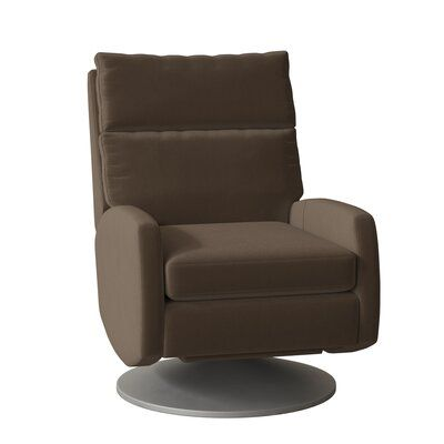 Fairfield Chair The Recliner is activated by merely pushing on the arms of the reclining chair and it will simultaneously activate both the footrest and chair-back into a TV or reading position. Further pressure applied to the arms will move the chair into a fully reclined position. Base Color: Brushed Nickel 2, Body Fabric: 1181 Charcoal, Reclining Type: Power