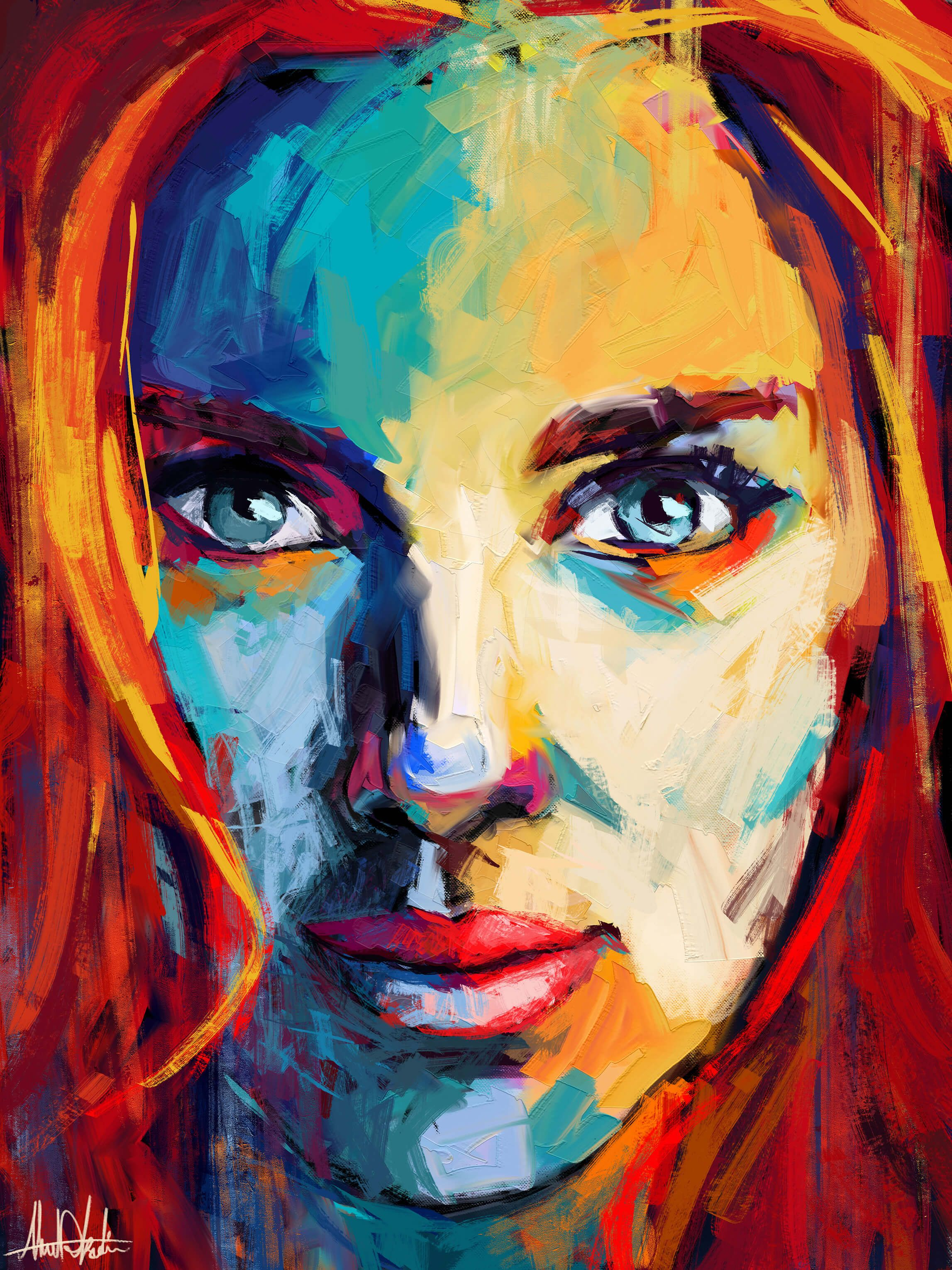 Portrait painting of scarlett johansson by Artist graphic