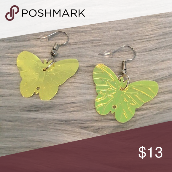 Green iridescent Butterfly Fishhook Earrings ✨💫 Green iridescent Butterfly Fishhook Earrings ✨💫  handmade with love! I'm really proud of t...