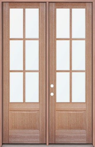 8 39 0 Tall 6 Lite Mahogany Prehung Wood Double Door Patio