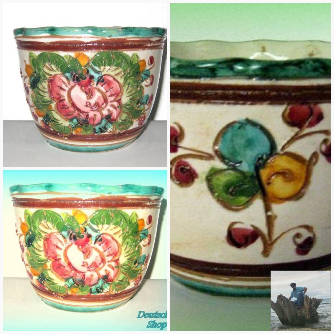 Free Shipping Flower Pot Majolika Italy Original Enchanting Collector Ceramic Unique Flowers 60s Deruta Studio Italian Art F In 2020 Old Vases Italian Art Flower Pots