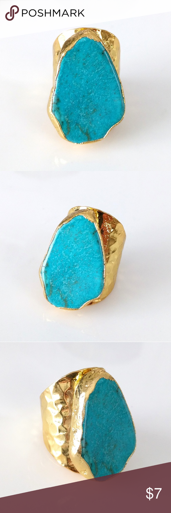 GoldPlated Turquoise Howlite Statement Ring Closet Closing
