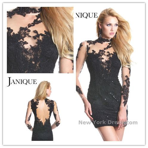 Free Shipping Sheath High Collar Long Sleeves Short/Mini Black Sexy Backless Lace Cocktail Dresses 2013 US $99.00