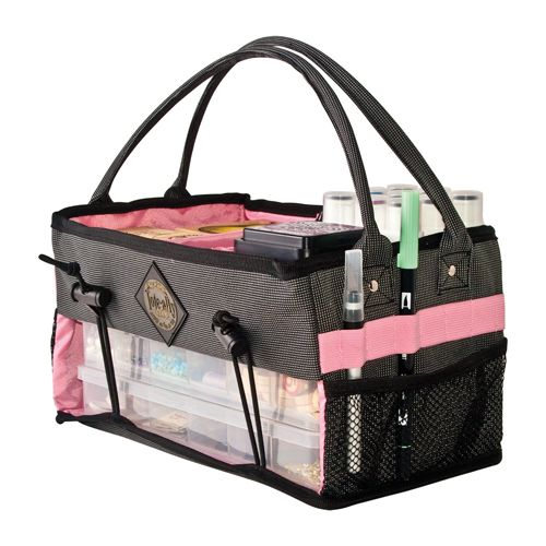 All My Memories - Tote-Ally Cool Tote 7 - Caddy - Pink and Grey at Scrapbook.com $24.99