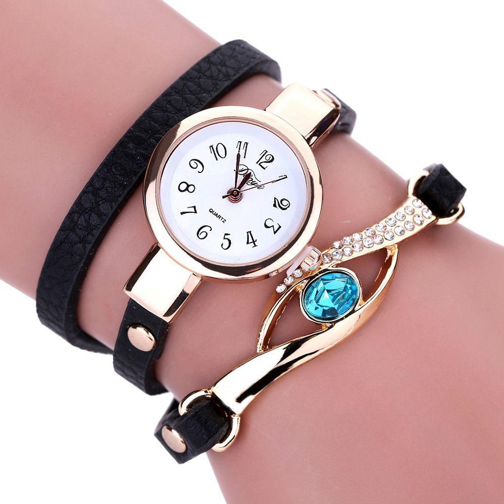 Duoya ladiesu fashion watches eye gemstone luxury watches women gold