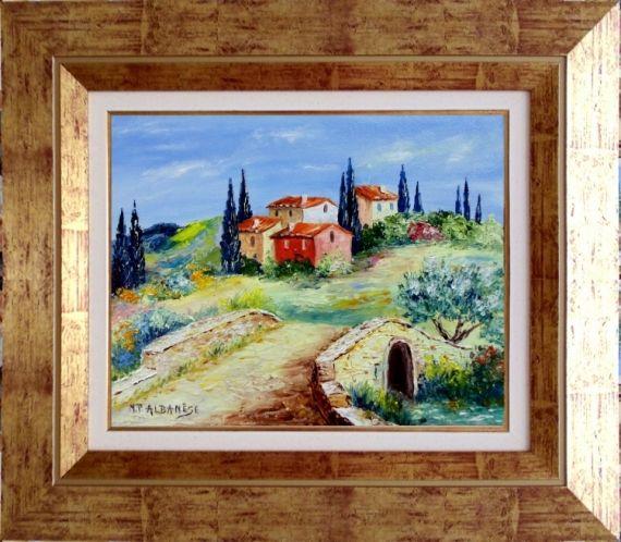 tableau peinture tableaux de provence paysage de provence pont cypr s olivie peintres de. Black Bedroom Furniture Sets. Home Design Ideas