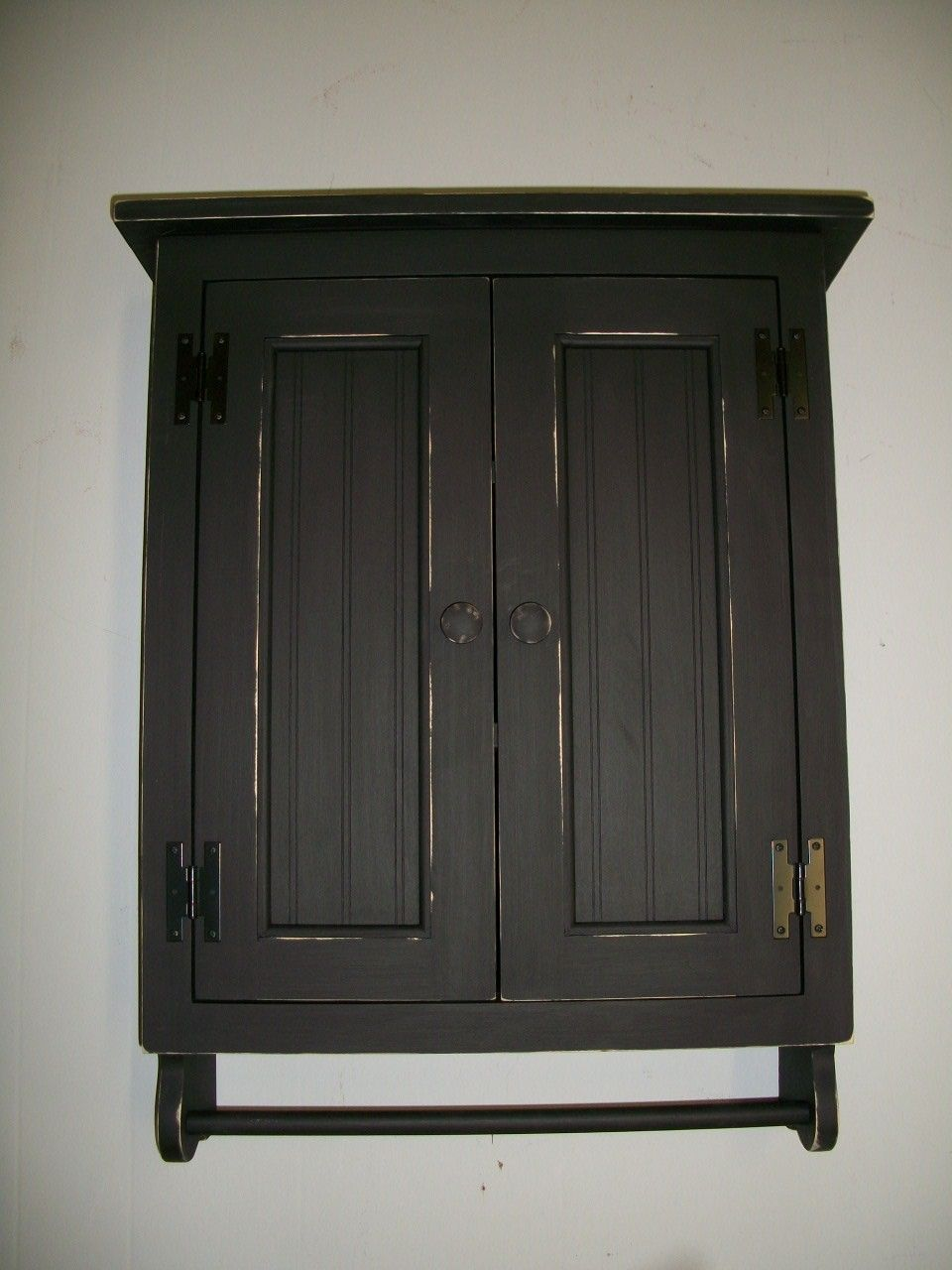 Black wall cabinet for kitchen | Primitive cabinets, Black ...