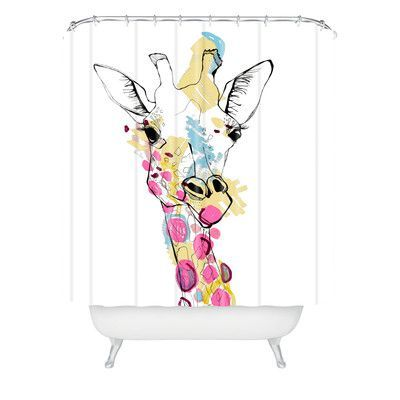 DENY Designs Casey Rogers Giraffe Color Extra Long Shower Curtain