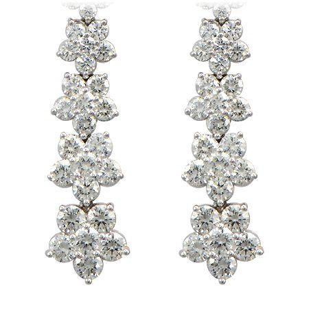 Flower Petal Diamond Earrings Drop Dangle Wixon Jewelers