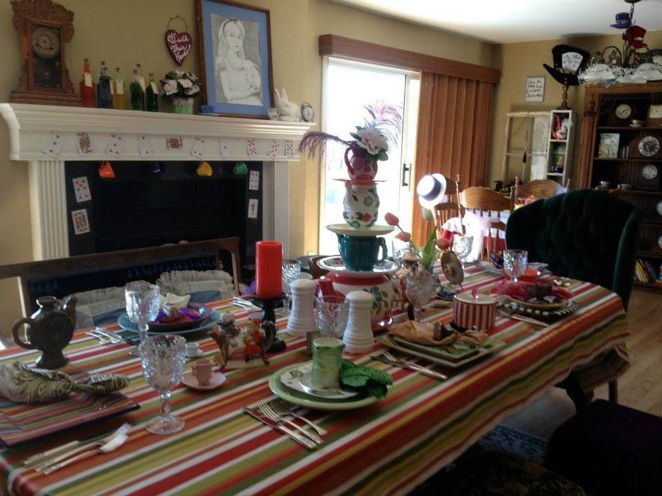 Mad Hatter Table On The Fireplace Mantel We Filled Bottles Of