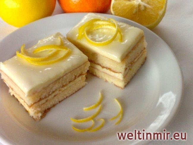 Zitronen Schnitte • Rezept | weltinmir.eu