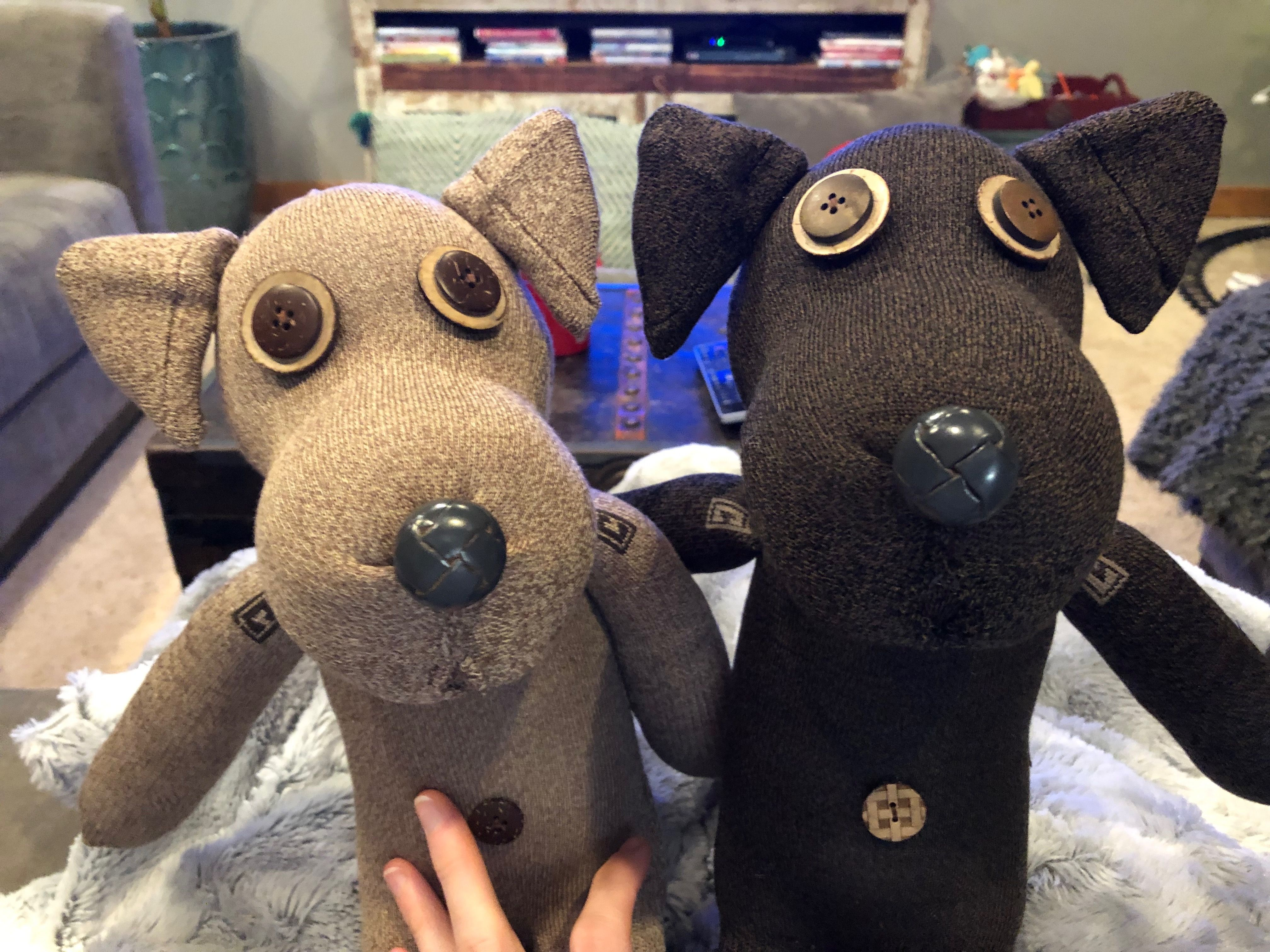 Custom pair of sock dogs! Winter jackets, Canada goose