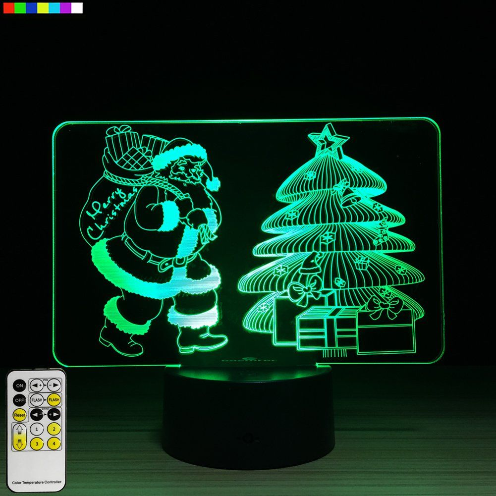 Christmas Lights Christmas Tree and Christmas Santa 3D Night Light 7 ...