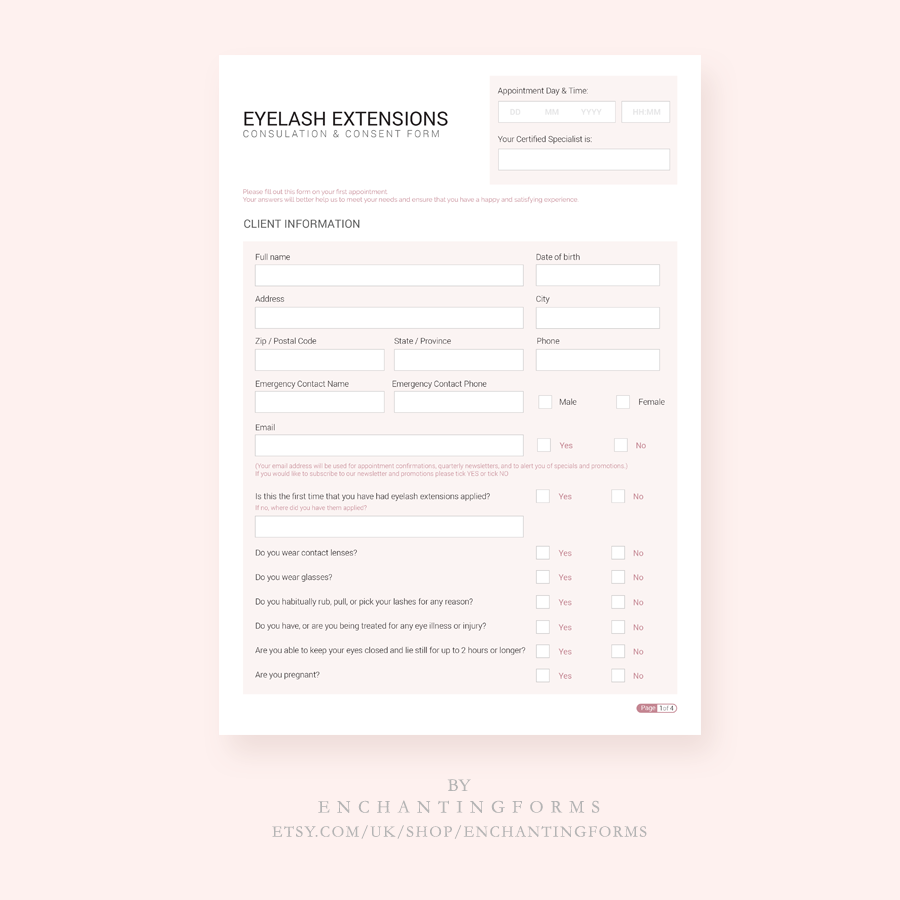 Eyelash Extension Consultation Forms Client Intake Forms Lash Mapping Consent Release Aftercare Card Lash Guide Instant Download Pdf Eyelash Extensions Eyelashes Lashes