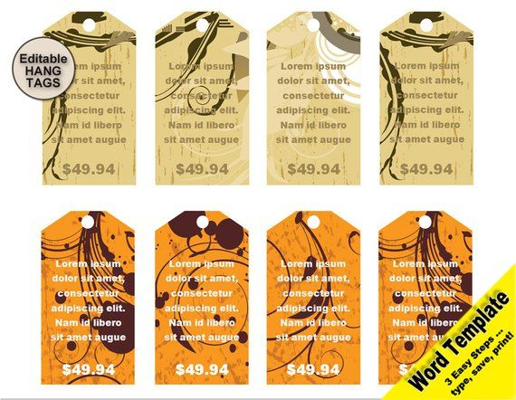 Gift Tag Editable Word Template Price Tag Clipart Set Hang Tags