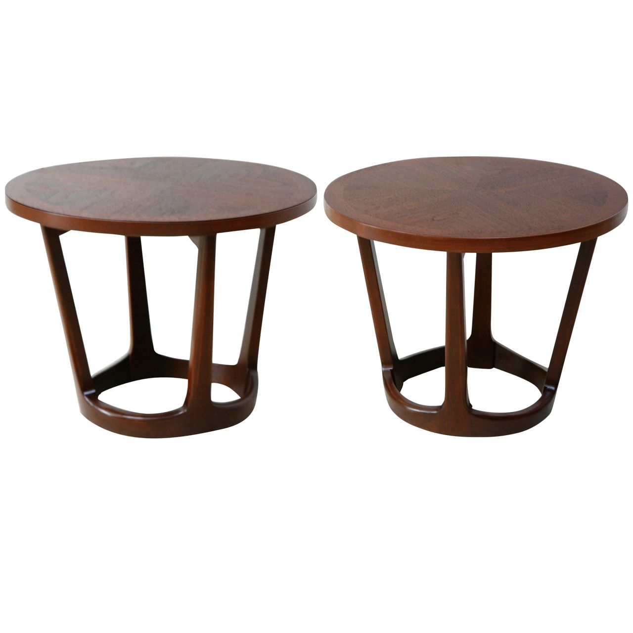 Pair Of Round Walnut Chow Tables