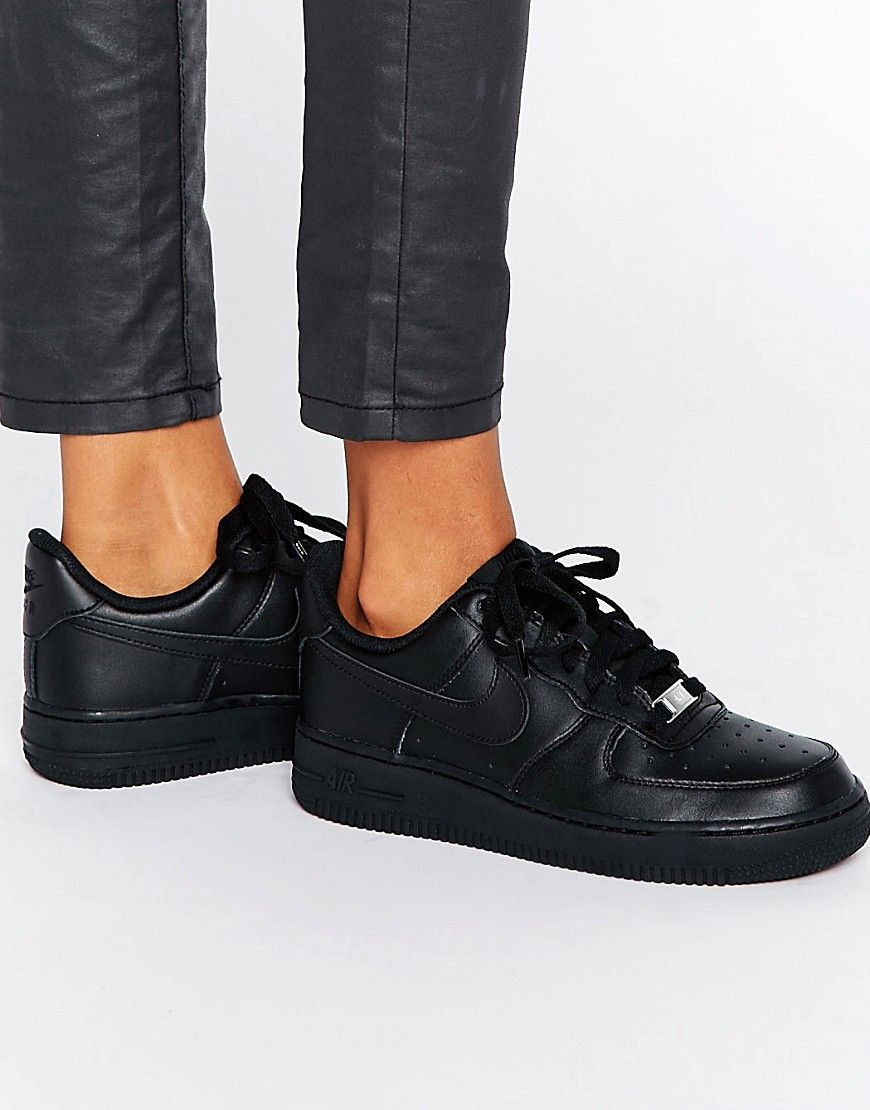 Comedia de enredo Calamidad Pelmel  Buy it now. Nike Air Force 1 '07 Trainers In Black - Black. Trainers by Nike,  Leather upper, Lace-up fa… | Zapatillas de deporte negras, Zapatillas  deportivas, Nike