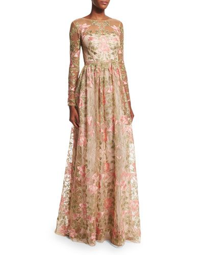 Marchesa Notte Floral embroidered maxi dress
