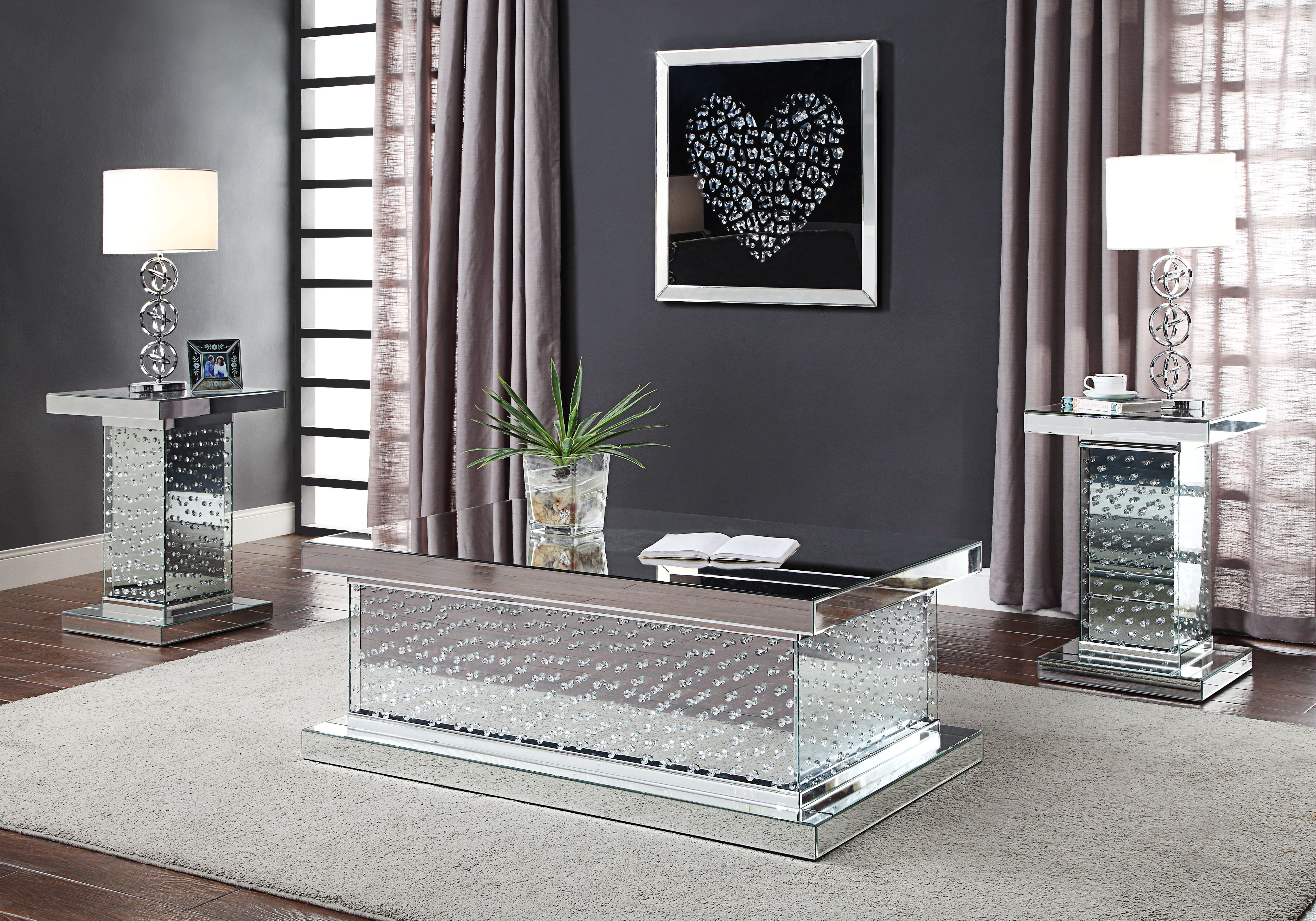 acme nysa coffee table in mirrored and faux crystals