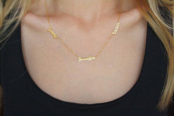 7286c8a0bbad5 Three Names Dainty Necklace - Personalize Three Name Necklace ...