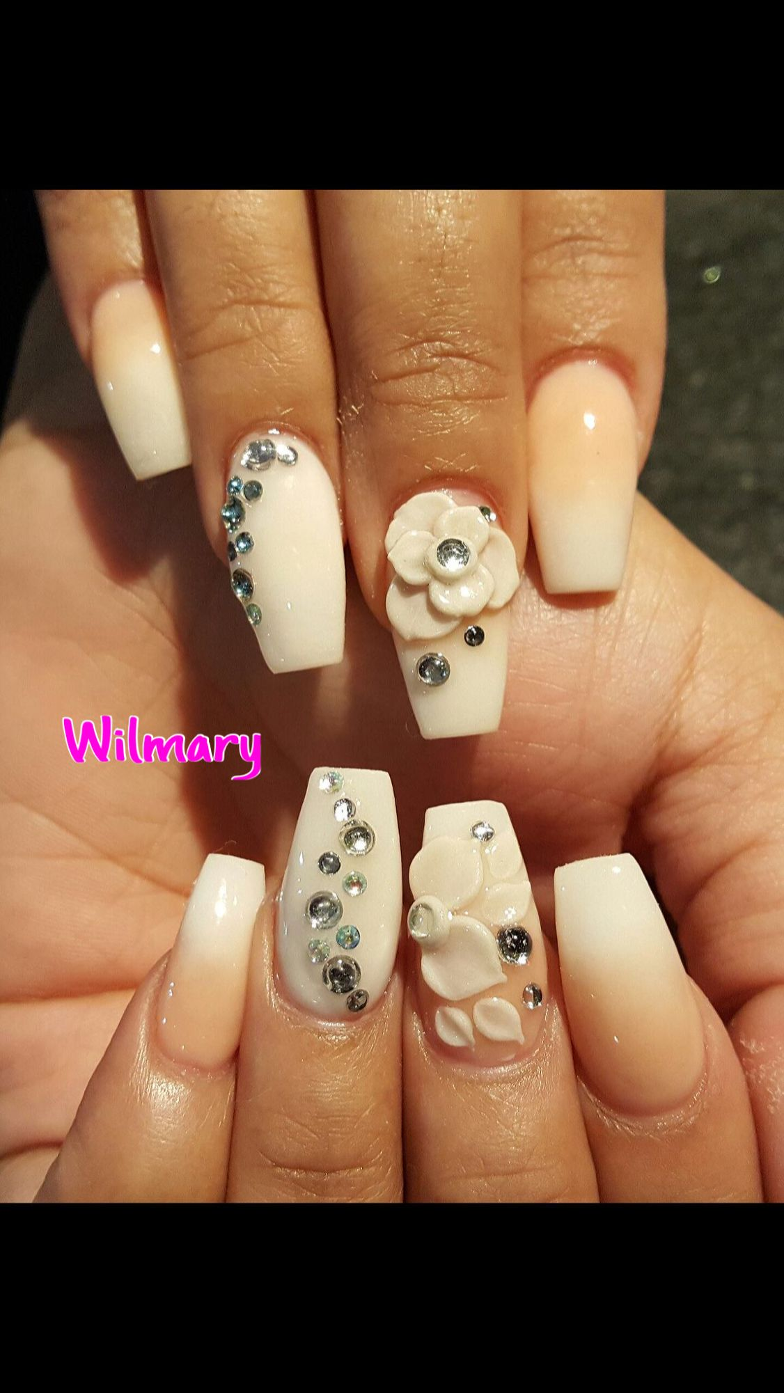 Acrylic Ombre Nails With 3d Nail Art By Wilmary Angel Nail Spa 2