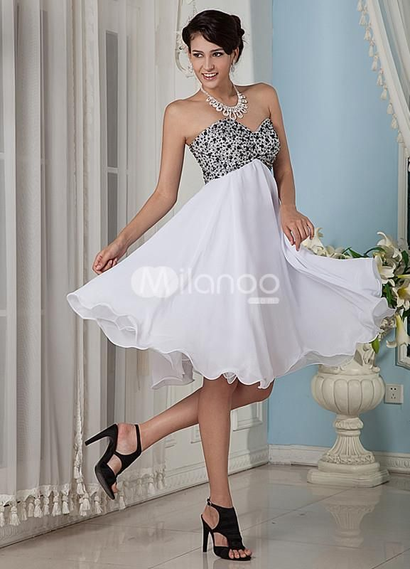 White A-line Sweetheart Lace Chiffon Prom Dress. Short and flirty dresses are just as much fun to wear as they are to look at. They come in a variety of colors and styles, which makes it easy to find one that suits your personality. This one is a great option. It features .. . See More A-line at http://www.ourgreatshop.com/A-line-C938.aspx
