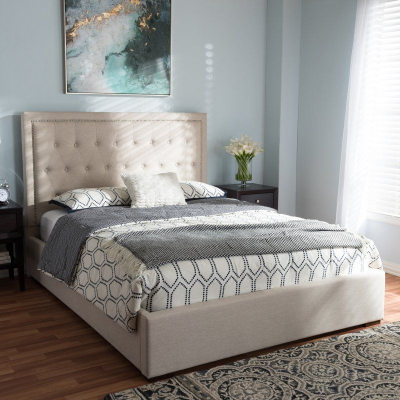 Baxton Studio Taylor Upholstered Queen Size Gas-Lift Platform Bed - CF8882-LIGHT BEIGE-QUEEN