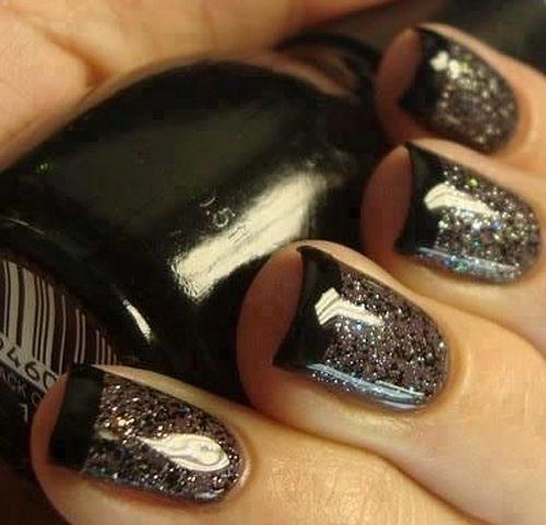 Black Nails With Glitter - Black Nails With Glitter Nail Colors Pinterest Glitter Nail