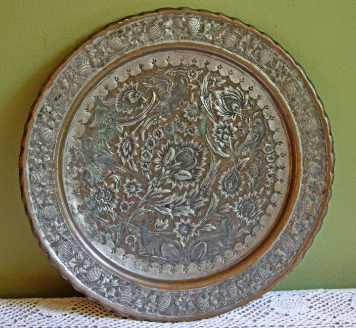 Hand Pounded Copper-Tin Platter or Tray. Folk Art Indian Craft. & Platter. Hand Pounded Copper-Tin Platter or Tray. Folk Art Indian ...