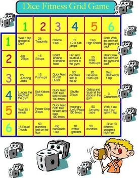 Physical Education Fitness Dice Grid With Images Elementary