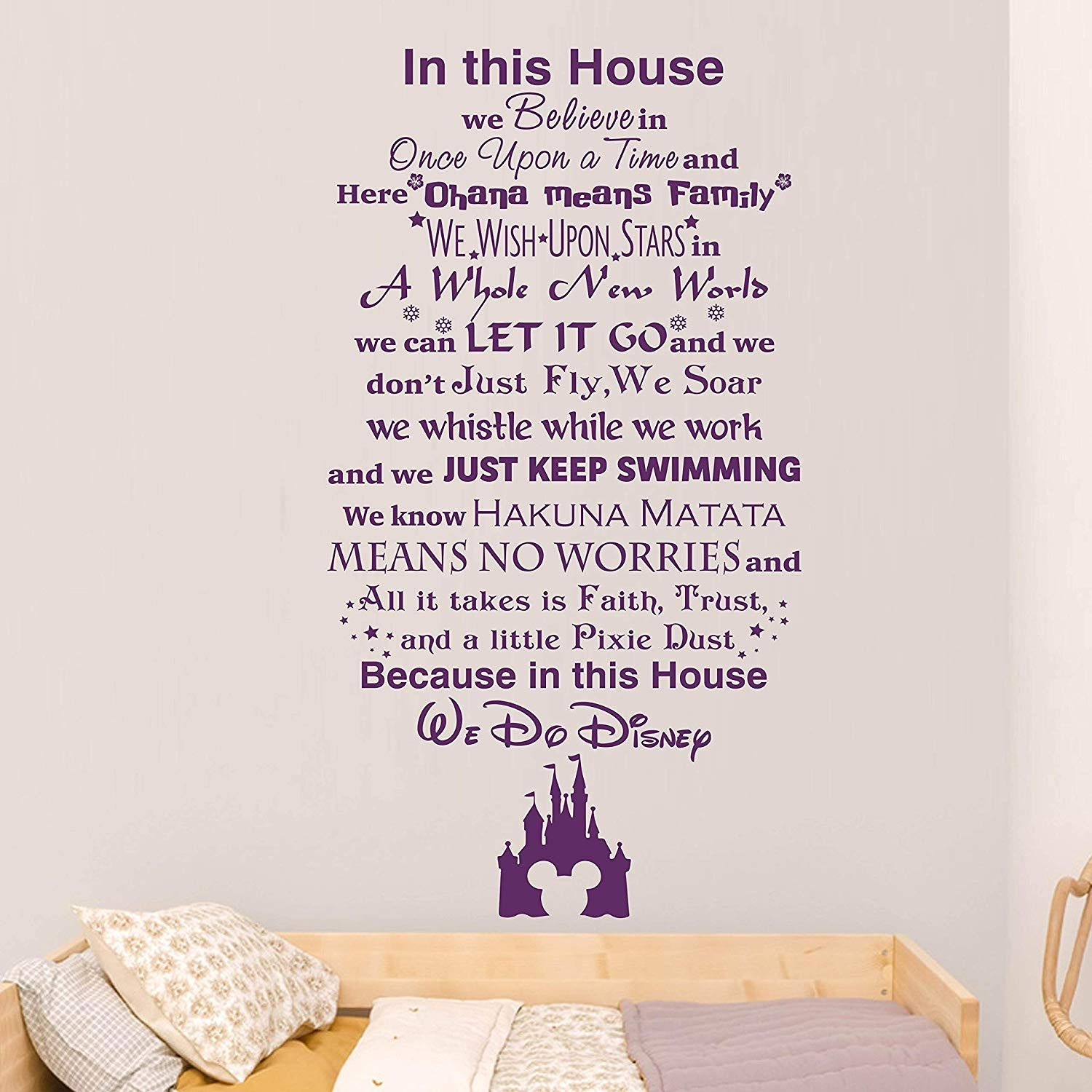 Wall Decals In This House We Do Disney Wall Decal Quote Lettering Vinyl Sticker Home Room Disney Quotes Disney Wall Decals Wall Quotes Decals Wall Art Quotes