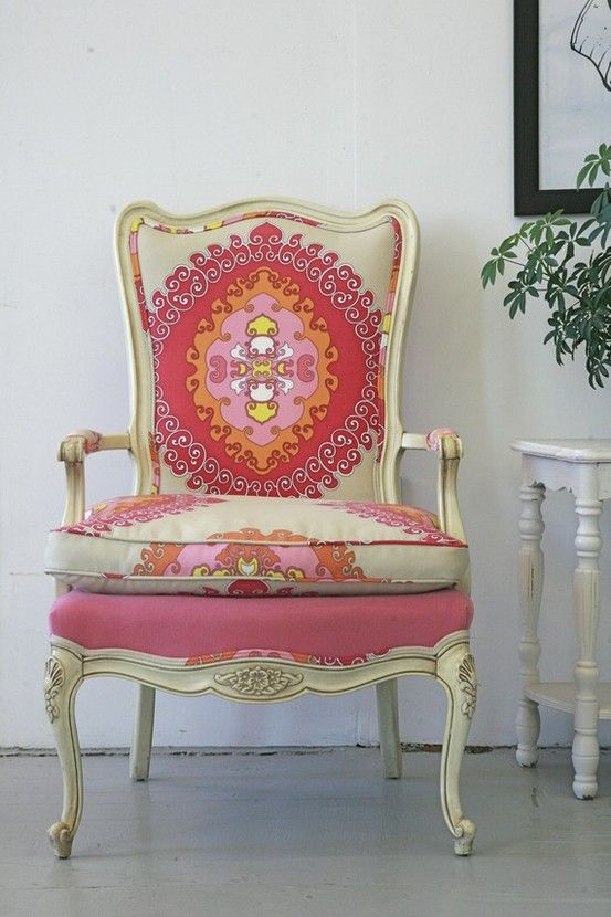 Vintage French Chair Covered In Trina Turk Fabric. Idea For Nanas Antique  Chair Pam?