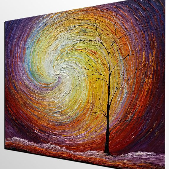 Abstract Landscape Painting, Autumn Tree Painting, Canvas