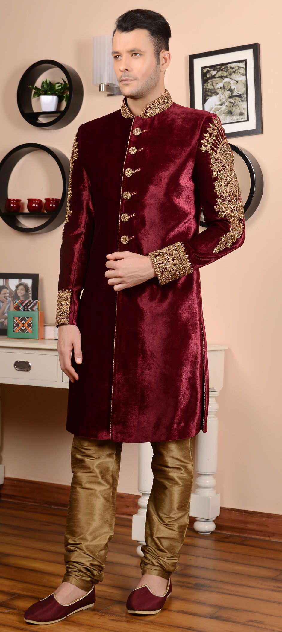 508243 red and maroon color velvet fabric sherwani