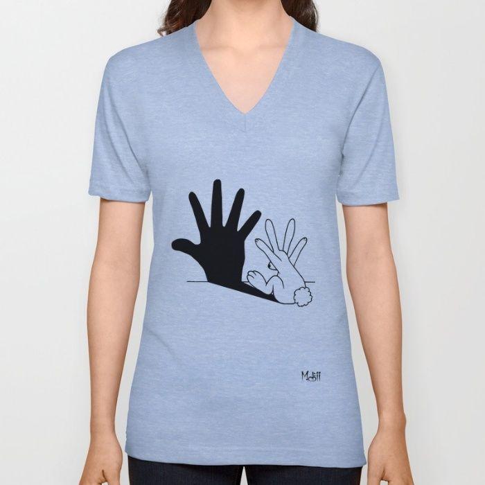 Rabbit Hand Shadow V-neck T-shirt
