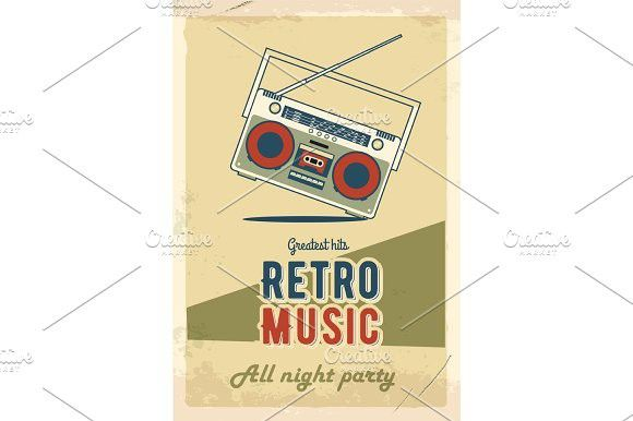 Retro Party Poster Design Music Event At Night Club Vintage